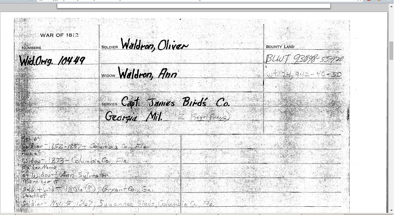 Widows Pension FIle for Oliver Waldron